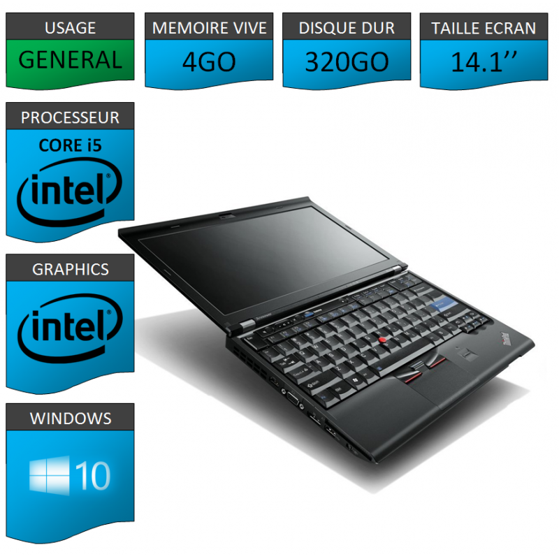 Lenovo t420 4go 320go windows 10 pro 64